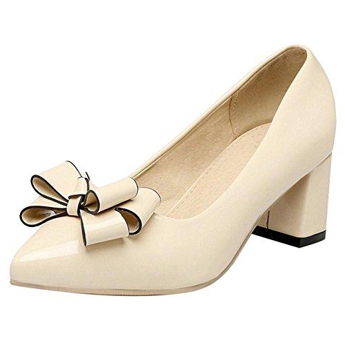 Coolcept Zapatos de Tacon Ancho con Bow para Mujer Beige