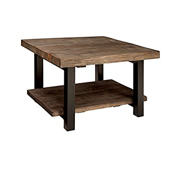Image of Alaterre AZMBA1320 Sonoma Rustic Natural Cube Coffee Table, Brown, 27' Home and Kitchen