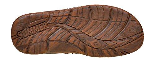 Einlage Schuhe Lukpol Modell Aus Hausschuhe Bequeme Orthopadischen der mit Herren Sandalen Echtem Schokolade Buffelleder 868 rtt47x0q