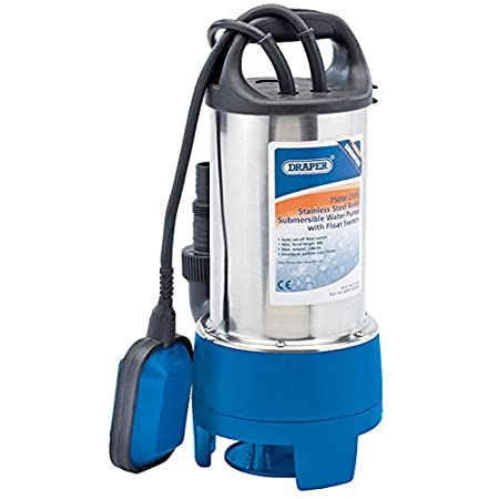 Draper 25359 250W Stainless Steel Submersible Water Pump with Float Switch SWP110SS