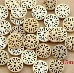 JumpingLight 20 Flower 2-Hole Coconut Shell Buttons 1/2