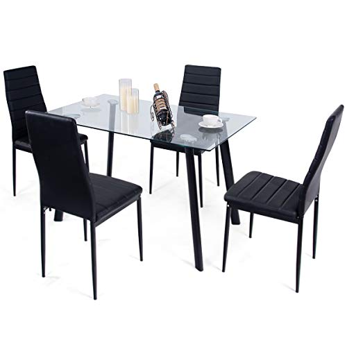 Tangkula 5 PCS Dining Table Set Modern Tempered Glass Top and PVC Leather Chair w/4 Chairs Dining Room Kitchen Furniture (Black) by Tangkula (Image #6)