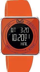 D&G DW0738 - Reloj para hombre con correa de caucho, color naranja / gris