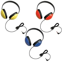Califone 2800 Listening First Headphone (3 Packs) Blue, Yellow, & Red