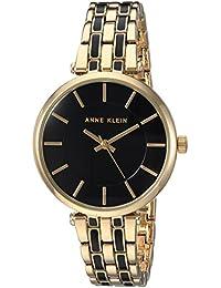 Womens AK/3010BKGB Gold-Tone and Black Bracelet Watch
