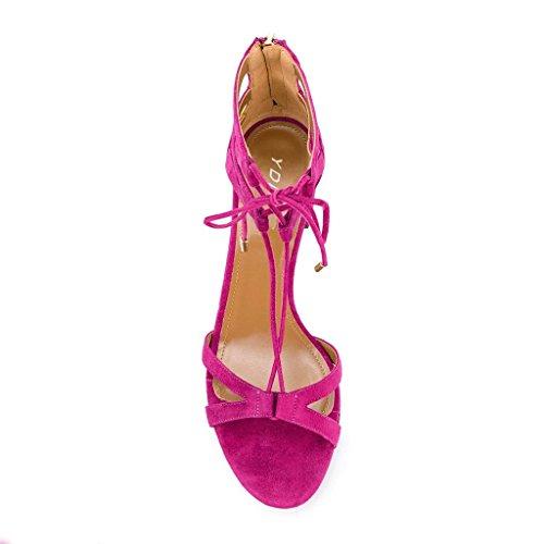 Ydn Donne Classiche Strappy Low-block Sandali Con Tacco Open Toe Cross Straps Dress Shoes Con Stringate Rosa Antico
