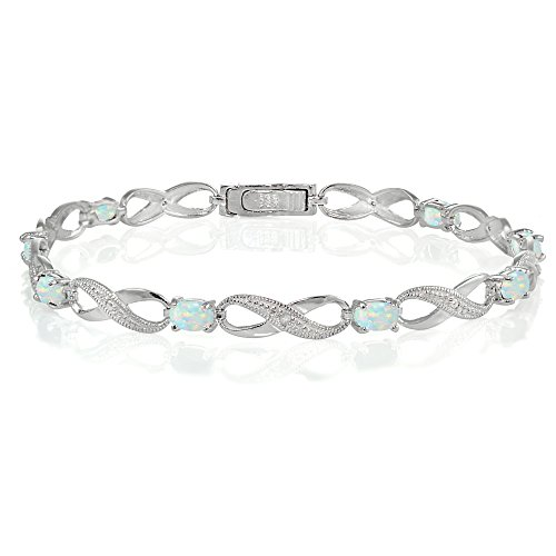 - Ice Gems Sterling Silver Created White Opal Infinity Link Bracelet