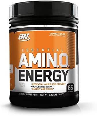 OPTIMUM NUTRITION ESSENTIAL AMINO ENERGY, Orange Cooler, Keto Friendly Preworkout and Essential Amino Acids with Green Tea and Green Coffee Extract, 20.6 Ounce (1 Count)
