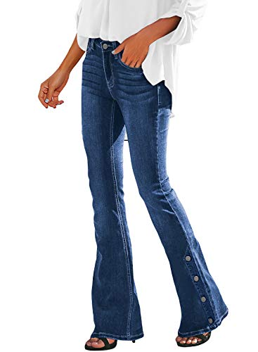 Vetinee Women's Blue Classic Mid Rise Buttons Bootcut Jeans Flare Bell Bottom Denim Pants X-Large (US -
