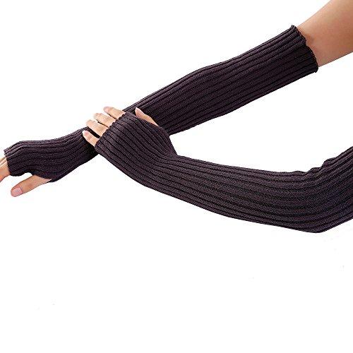 - URIBAKE Women's Arm Wrist Warmer Wool Knitted Solid Fingerless Winter Thermal Gloves Mittens Knitwear