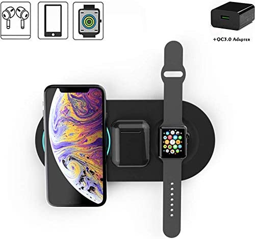 3 1ワイヤレス充電器パッド、高速ワイヤレス充電器スタンド、Samsung/Airpods/iPhone 11/11 Pro/XR/XS / 7/8/8 Plus/Apple Watch 1/2/3/4/5用10W高速充電器