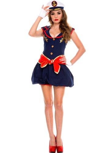 Women's Captivating Captain Costumes (4 PC. Ladies' Captivating Captain Bubble Dress Costume Set - Small/Medium - Navy)