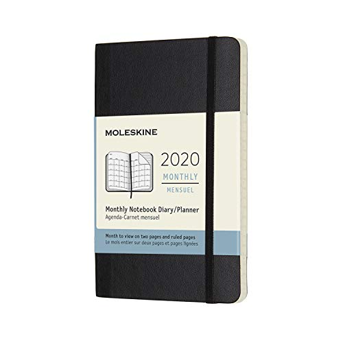 Moleskine Classic 12 Month 2020 Monthly Planner, Soft Cover, Pocket (3.5