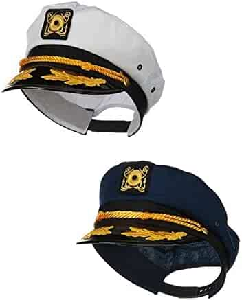Nicky Bigs Novelties Sailor Ship Yacht Boat Captain Hat Navy Marines  Admiral Blue White Gold 2 a296a296f1ef
