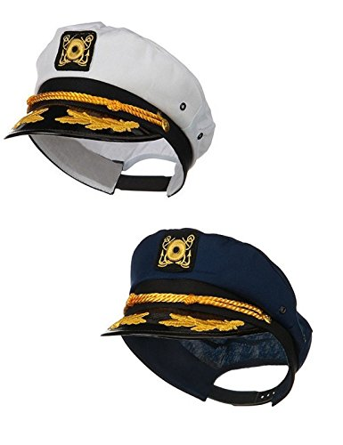 Sailor Ship Yacht Boat Captain Hat Navy Marines Admiral Blue White Gold 2 Pack (Ahoy Matey Mens Adult Costume)