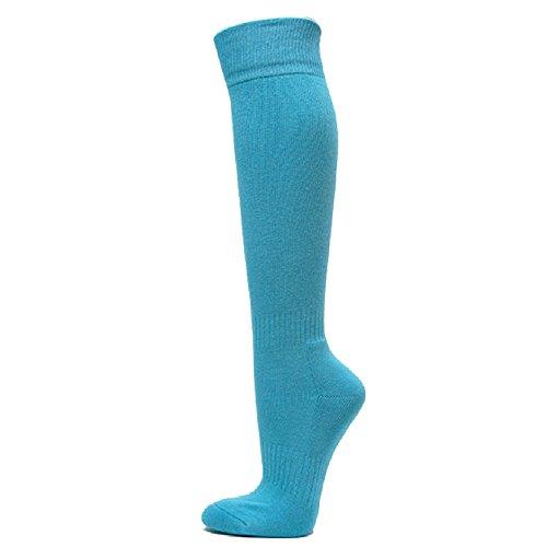 Couver Unisex Polyester Soccer Knee High Socks Sports Team Socks, Sky Blue L