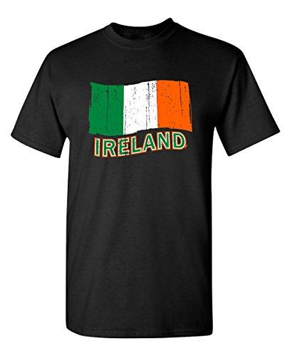 (Feelin Good Tees Ireland Flag Graphic Funny Irish St Patrick's Day Flag T Shirt 2XL Black)