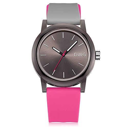 Silicone Quartz Watch Men Women Casual Analog Jelly Unisex Wrist Watch Simple Fashion Design Nice Colors Sport Watches (Pink Strap&Black Dial) -