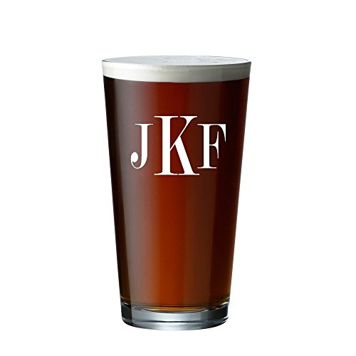 Personalized Beer Glass, Monogrammed Pint Glasses, Initials Beer glass (Pint 16 oz.) -