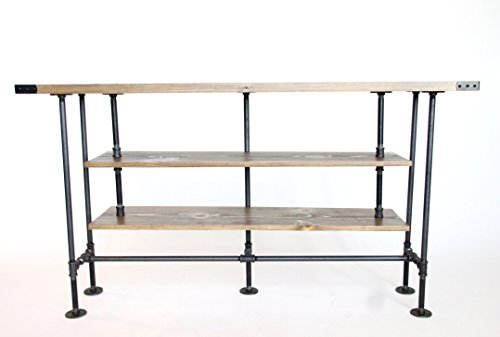 TV Console Table, Large, Rustic TV Stand, Industrial Style, Ships from Detroit, Michigan