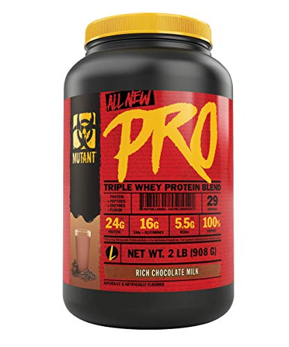 Mutant Pro Triple Whey Protein Powder Supplement Time-Released for Enhanced Amino Acid Absorption Decadent Gourmet Flavors 2 lbs Rich Chocolate