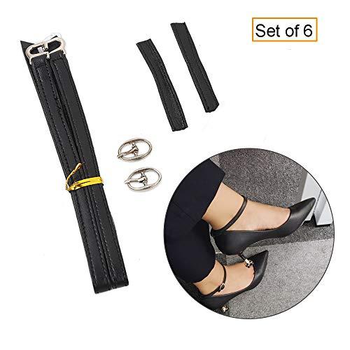 Women's Detachable Leather Shoe Straps,High Heels Anti-Loose Anti-Slip Shoelace -2 Sets (Black) - Black Leather Ankle Strap