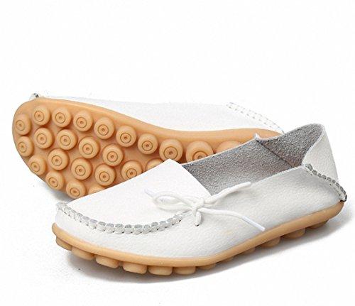 Vrouwen Loafer Schoenen Casual Wandelschoenen Plat Rijden Schoenen Slip Op Mocassin Bootschoenen Wit