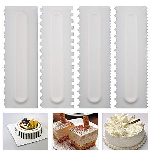 Neepanda Decorating Comb & Icing Smoother Tool Scraper 4 Pcs Set, Decorating Mousse Butter Cream Cake Edge Tools, Plastic Sawtooth Cake ()