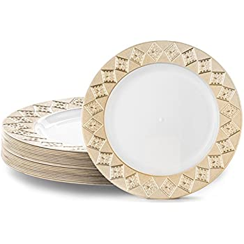 VINTAGE PLASTIC PARTY DISPOSABLE PLATES | 9 Inch Hard Round Wedding Plates for Dinner / Lunch | White / Gold Rim 20 Pack | Elegant Fancy Heavy Duty Party ...  sc 1 st  Amazon.com & Amazon.com: 60PCS Heavyweight White with Gold Rim Wedding Party ...