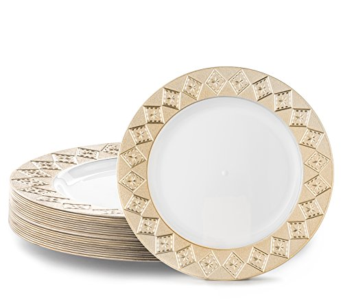 VINTAGE PLASTIC PARTY DISPOSABLE PLATES | 7.5 Inch Hard Round Wedding Appetizer Plates | White with Gold Rim, 40 Pack | Elegant Fancy Heavy Duty Party Supplies Plates for Holidays -