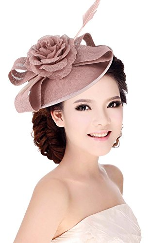 La Vogue Women Sinamay Flower With Hair Clip Fascinator Feather Tea Party Derby Pink