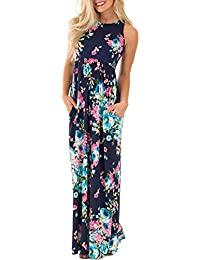 Women's Floral Print Round Neck Sleeveless Long Maxi...