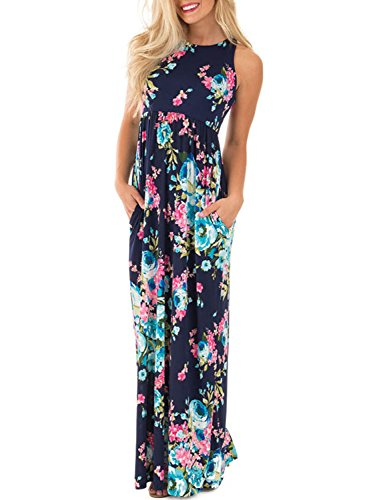 Lovezesent Women's Floral Print Round Neck Sleeveless Long Maxi Casual Dresses Large Blue