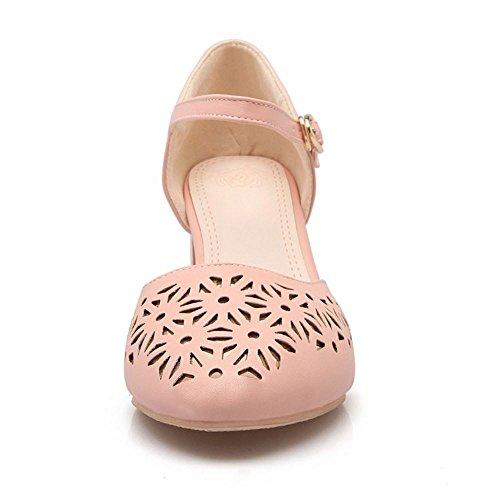 COOLCEPT Mujer Moda Ankle Strap Court Zapatos Tacon Ancho medio Bombas Zapato Cerrado Zapatos Rosado