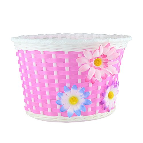 Farway 1PC Kids Bike Bicycle Basket Front Decoration with 3 Pretty Flowers (Pink)