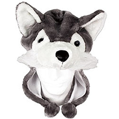 Plush Animal Hat - One Size Fits All - Super Soft - Husky Dog Fox (Wolf Costumes For Dogs)