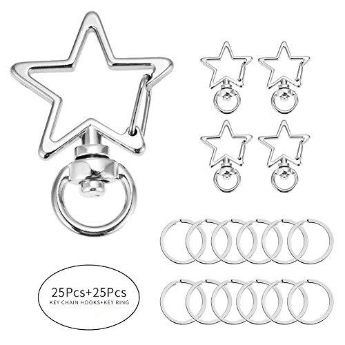 BAOBAO 50 PCS Metal Swivel Lobster Clasp Snap Hook with Key Rings (Star Key Ring)