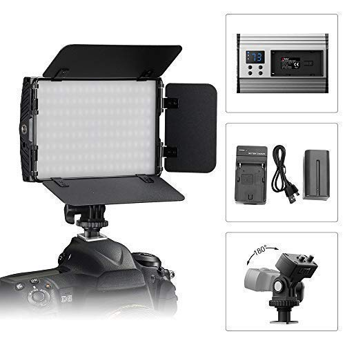 (Video Fill Light, Tolifo DSLR Light PT-15B-II Kit Including Bi-Color Metal LED Light with Barn Doors, Hotshoe, 2200mAh Rechargeable Battery for Studio, YouTube, Product Photography, Video)