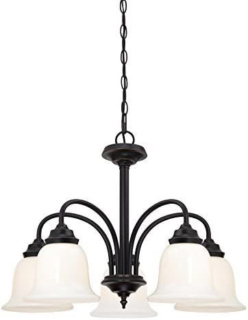 Westinghouse Lighting, Amber Bronze 6304200 Harwell Five-Light Indoor Chandelier, Finish with White Opal Glass