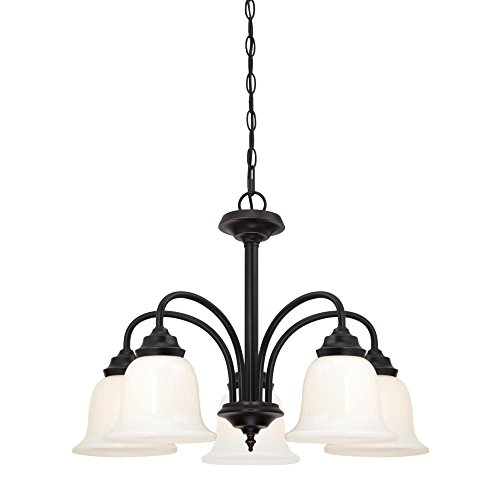 Westinghouse Lighting 6304200 Harwell Five-Light Indoor Chandelier, Amber Bronze Finish with White Opal Glass,