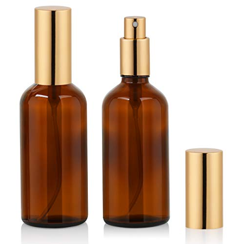 Amber Glass Spray Bottle 4oz for Cologne,Perfume,Essential Oils,Refillable Fine Mist Spray (2 PACK)
