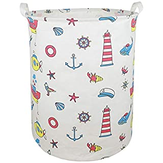 KUNRO Large Sized Round Storage Basket Waterproof Coating Organizer Bin Laundry Hamper for Nursery Clothes Toys (sea Steamship)