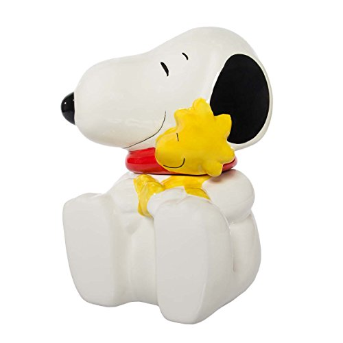 "Gibson Peanuts Snoopy & Woodstock Large 10.5"" Ceramic Cookie Jar With Lid Decorative Collectibles"