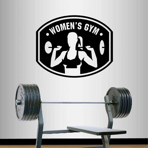 Wall Vinyl Decal Home Decor Art Sticker Women's Gym Logo Emblem Sign Strong Woman Girl Bodybuilder Powerlifting Sport Club Room Removable Stylish Mural Unique Design 2346