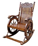 Crafts A to Z Rocking Chair Easy Chair Resting Chair Wooden Rocking Chair Grandpa Rocking Chair Chair Easy Chair (Brown, 43 X 24 X 37 Inch)