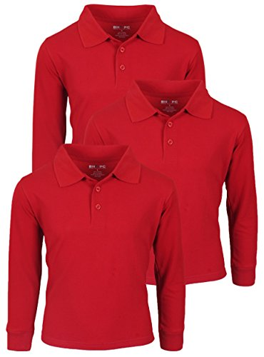 'Beverly Hills Polo Club 3 Pack of Boys\' Long Sleeve Pique Uniform Polo Shirts, Size 12, Red' (Shirt Uniform Red)
