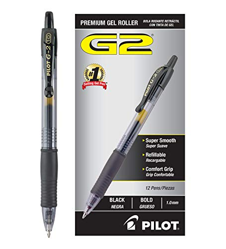Pilot G2 Retractable Premium Gel Ink Roller Ball Pens Bold Pt (1.) Dozen Box Black; Retractable, Refillable & Premium Comfort Grip; Smooth Lines to the End of the Page, America