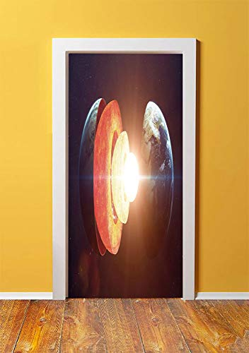 Earth 3D Door Sticker Wall Decals Mural Wallpaper,Core of the Earth Structure Burning Magma Geomagnetic Tectonic Split Decorative,DIY Art Home Decor Poster Decoration 30.3x78.3454,Orange Light Yellow ()