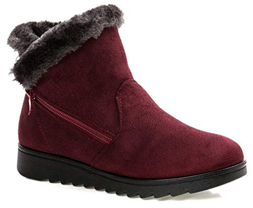 Zip Winter Lined Fur Suede Shoes Red Booties Flat Womens Anti Size with Slip Ankle Boots Warm Snow 6RwEd6xq