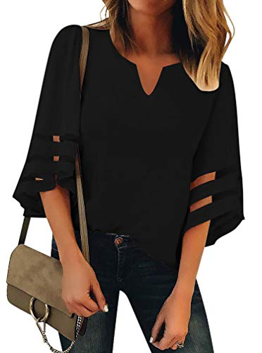 Women's 3/4 Bell Sleeve Henley V Neck Lace Patchwork Casual Loose Tops Shirt Blouses Black Medium